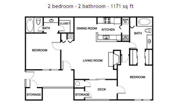 2 bedroom - 2 bathroom - 1171 sq ft