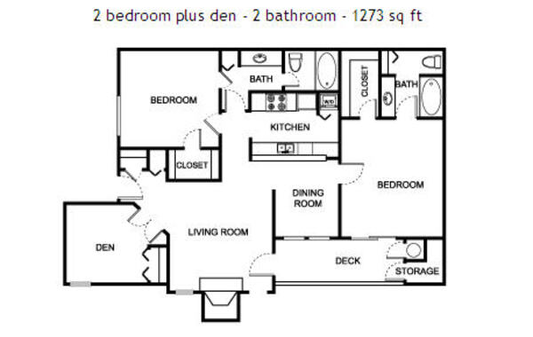 2 bedroom - 2 bathroom w/Den - 1273 sq ft