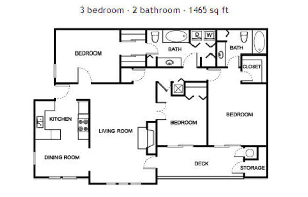 3 bedroom - 2 bathroom - 1465 sq ft