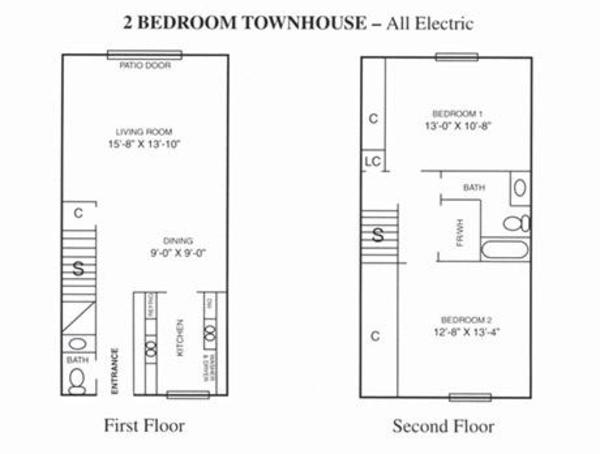 2 Bed 1.5 Bath Townhouse