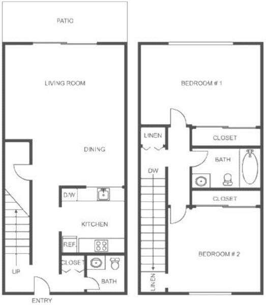 2 Bed 1 Bath(Townhome)