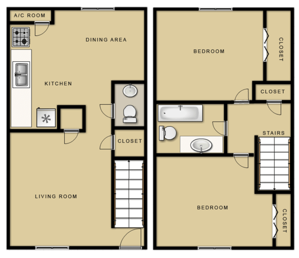 2 Bed 1.5 Bath (Townhome)