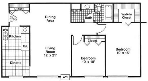 Two Bedroom, One Bath (C)