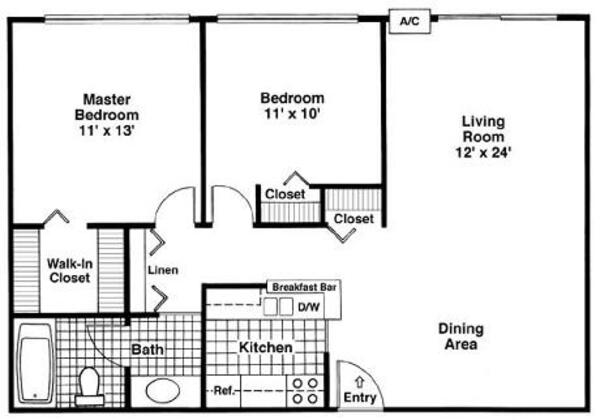 Two Bedroom, One Bath (D)