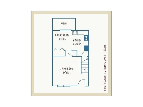 2 Bedroom Townhouse | First Floor Layout