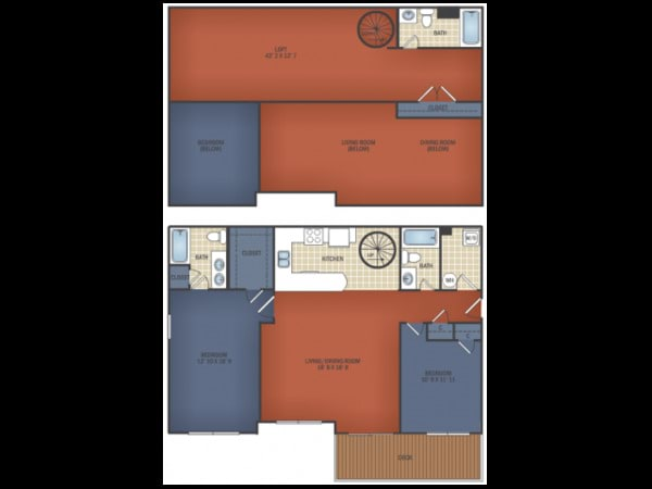 Two BR/ Three BA SR Loft