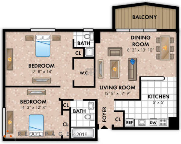 Two Bedroom 1 Bath Large