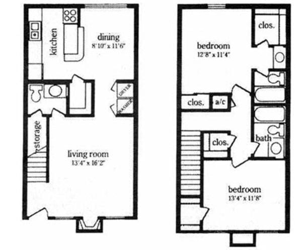 2 Bed 2.5 Bath Townhome (F)