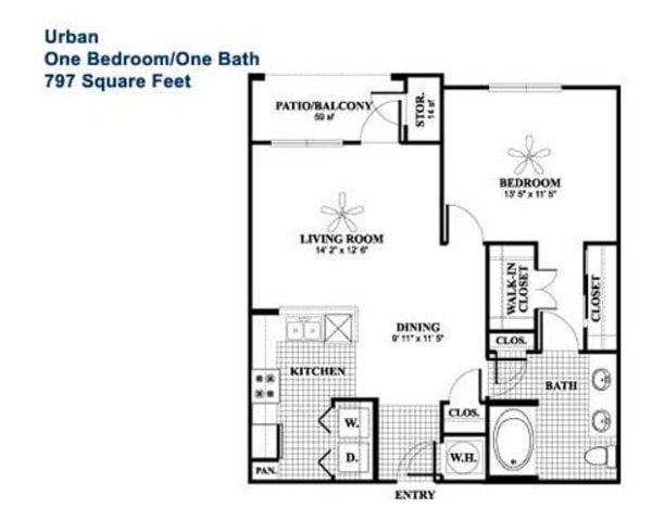 Urban - 1 Bedroom, 1 Bath