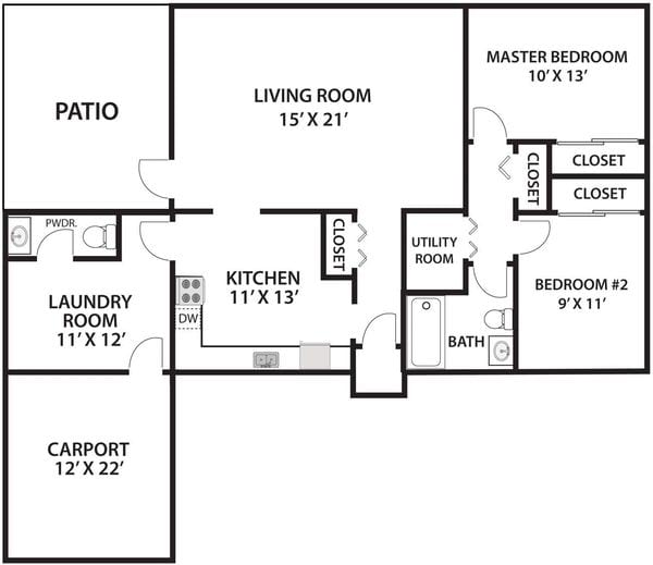 2 Bed 1.5 Bath Twin Single