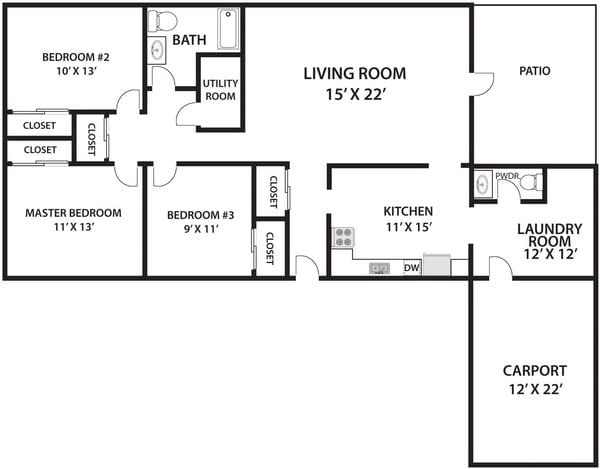 3 Bed 1.5 Bath Twin Single