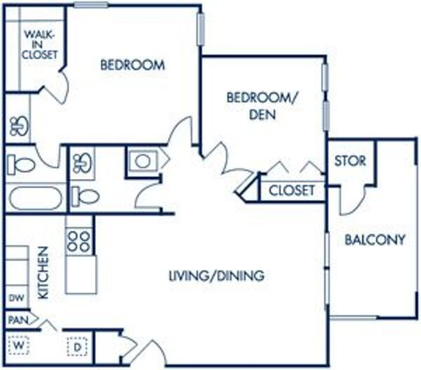 One Bedroom/Den: 830sqft - A2 Deluxe & A2p Premium