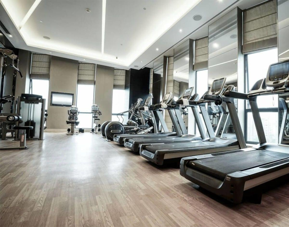Fitness Center with line of cardio equipment