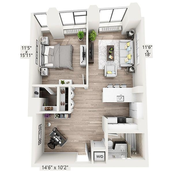 One Bedroom w/Home Office F