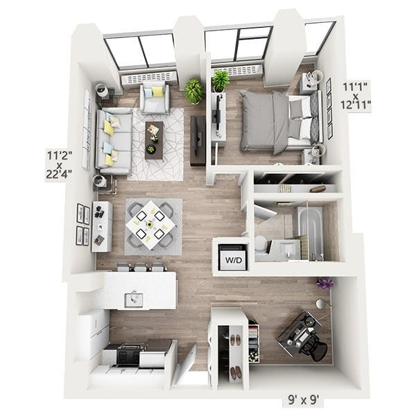 One Bedroom w/Home Office G