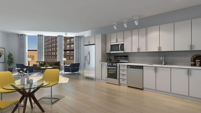 Image rendering of apartment living space with large kitchen, dining area and living room