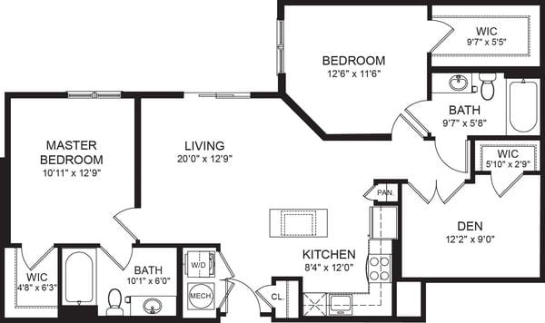 Two Bed Two Bath 1019sf