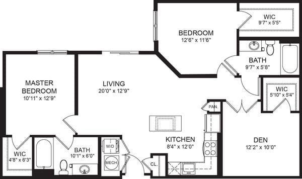 Two Bed Two Bath 1067sf