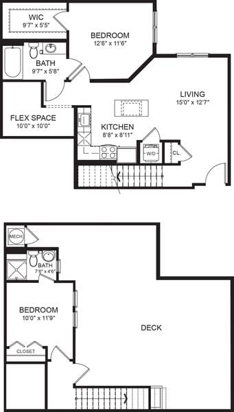 Two Bed Two Bath 887sf