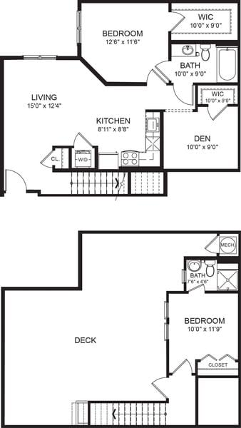 Two Bed Two Bath 889sf