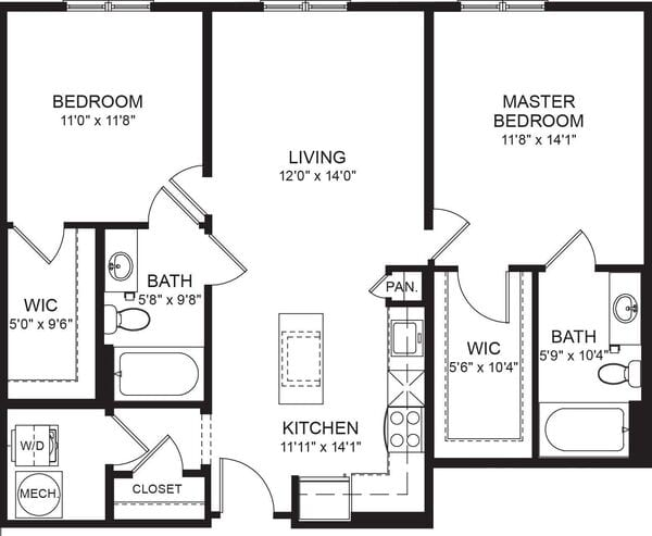 Two Bed Two Bath 947sf