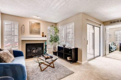 Chestnut Ridge - Image if the model apartment living area with a couch, coffee table, fire place, and plush carpeting.