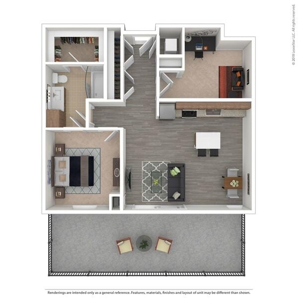 B02 - 1 bed/1 bath with den