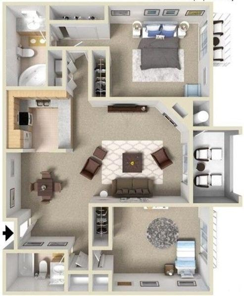Two Bedroom Two Bathroom E