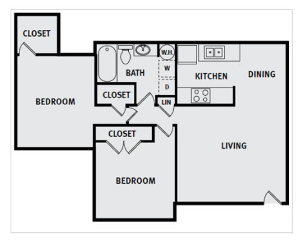 2 Bedroom 1 Bath FP