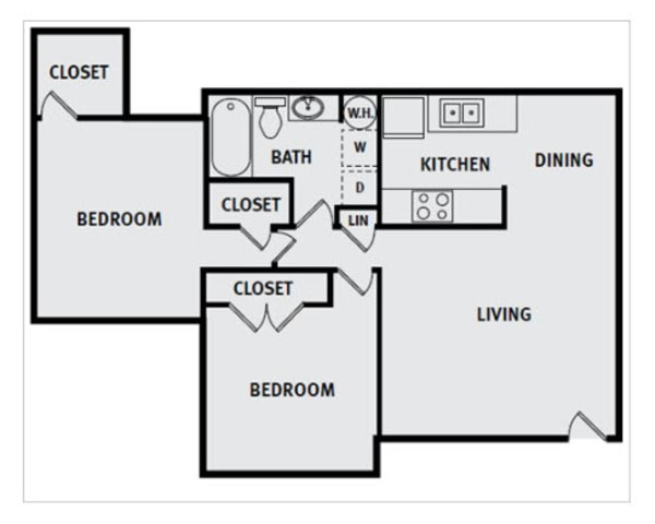 2 Bedroom 1 Bath FPP