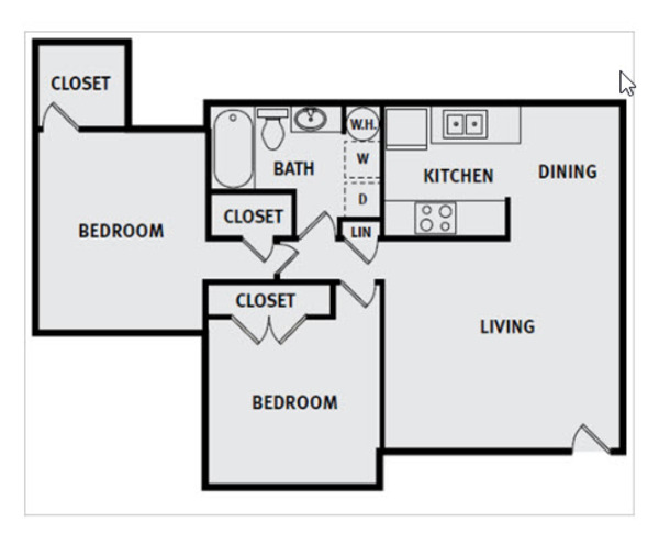 2 Bedroom 1 Bath Premium