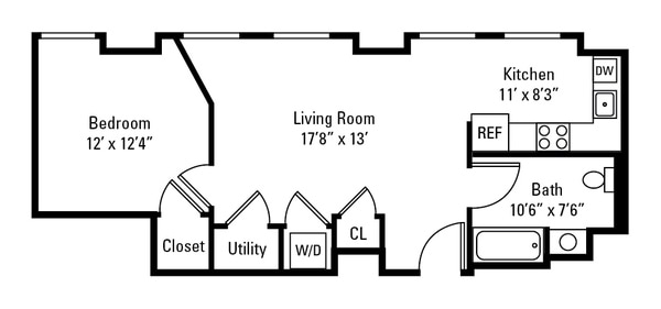1 Bedroom H Prime Layout
