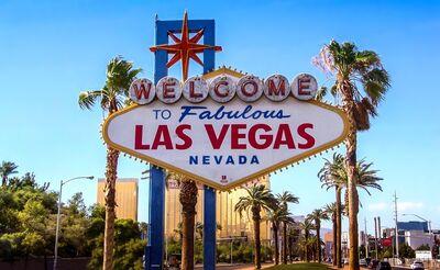 Stock image depicting aerial view of Las Vegas Strip at night.