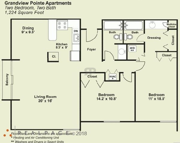 2 Bed 2 Bath (Corner Unit)