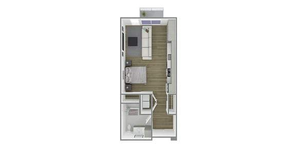 1 Bedroom 1 Bath Open Plan A Affordable