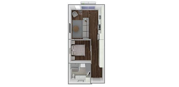 1 Bedroom 1 Bath Open Plan A