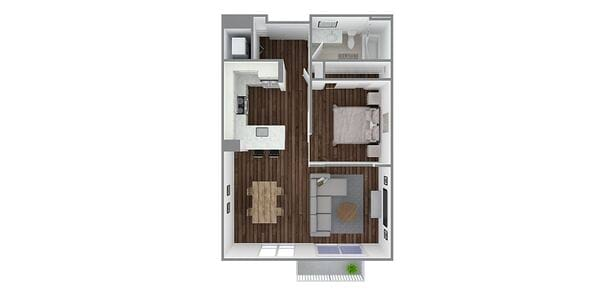 1 Bedroom 1 Bath Open Plan B