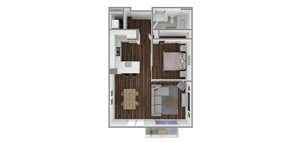 1 Bedroom 1 Bath Open Plan B1