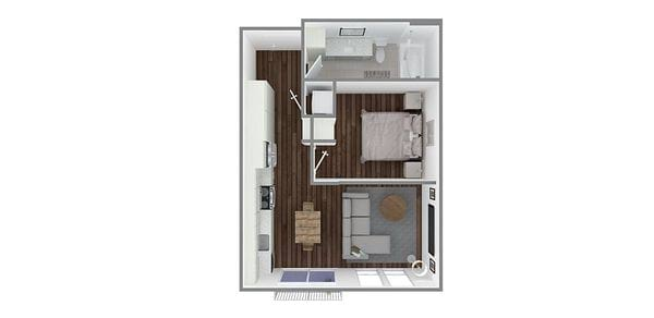 1 Bedroom 1 Bath Open Plan N