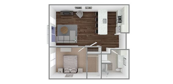 1 Bedroom 1 Bath Plan C1/C2/C4