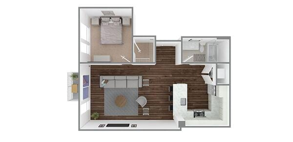 1 Bedroom 1 Bath Plan M