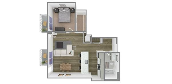 1 Bedroom 1 Bath Plan S