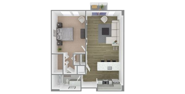 1 Bedroom 1 Bath Plan V