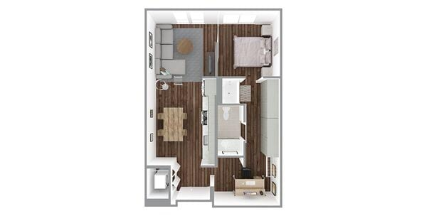 1 Bedroom 1 Bath w/Den Plan B3