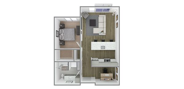 1 Bedroom 1 Bath w/Den Plan C