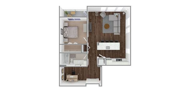 1 Bedroom 1 Bath w/Den Plan F