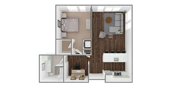 1 Bedroom 1 Bath w/Den Plan J