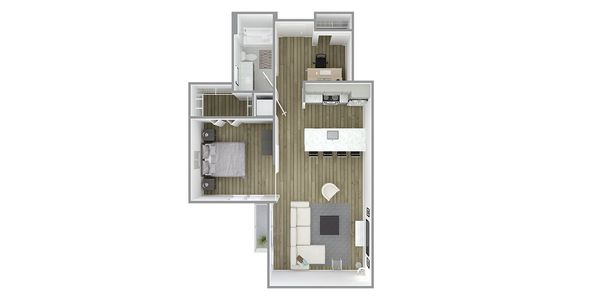 1 Bedroom 1 Bath w/Den Plan K