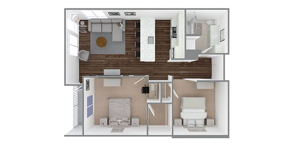 1 Bedroom 1 Bath w/Den Plan D1, D1.1