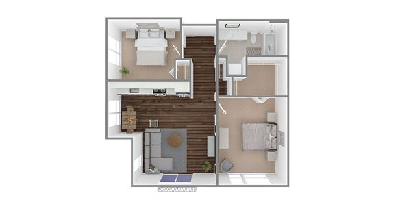 2 Bedroom 1 Bath Plan L